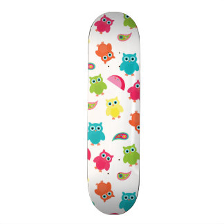 Cute Colorful Owl and Paisley Pattern Design Skate Board Decks