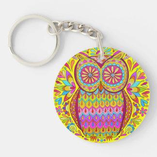 Cute Colorful Owl Keychain - Groovy Retro Owl Art!
