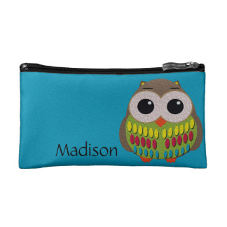 Cute Colorful Owl on Blue Cosmetics Bag