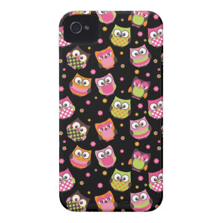 Cute Colorful Owls iPhone Case (black) iPhone 4 Covers