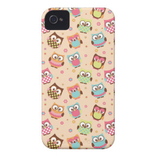 Cute Colorful Owls iPhone Case (pale apricot) iPhone 4 Case-Mate Cases