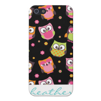 Cute Colorful Owls on Black iPhone 5 Covers