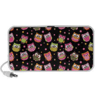 Cute Colorful Owls on Black Mp3 Speakers