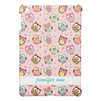 Cute Colorful Owls on Pink Pattern iPad Mini Covers