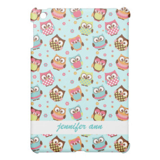 Cute Colorful Owls on Teal Pattern iPad Mini Cases