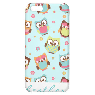 Cute Colorful Owls on Teal Pattern Case For iPhone 5C