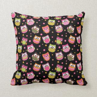 Cute Colorful Owls Pillow (Black)