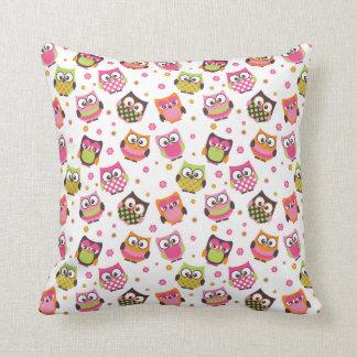 Cute Colorful Owls Pillow (White) Cushion