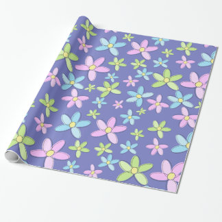 Cute Colorful Pastel Flowers Wrapping Paper