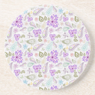 Cute colorful pastel paisley patterns coaster