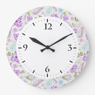 Cute colorful pastel paisley patterns large clock