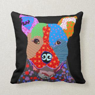 Cute Colorful Patchwork Pitbull Dog Cushion