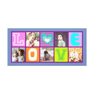 Cute colorful photo collage with love canvas print