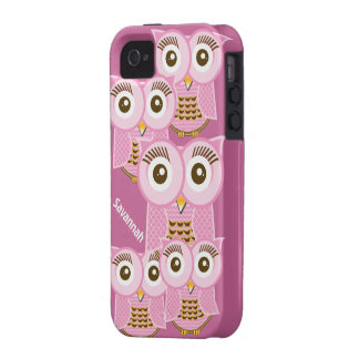 Cute Colorful Pink Owls Change Purple to any Color iPhone 4 Covers