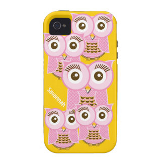 Cute Colorful Pink Owls Change Yellow to any Color iPhone 4 Case