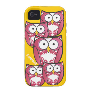 Cute Colorful Pink Owls Change Yellow to any Color iPhone 4 Cover