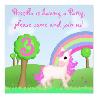 Cute Colorful Pink Pony Cartoon Party Invite