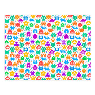 Cute colorful pixelated monsters patterns postcard