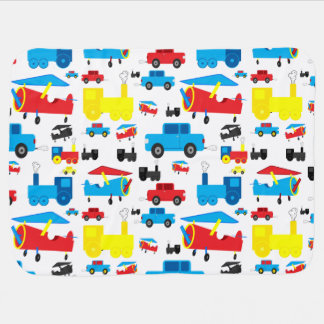 Cute Colorful Planes, Trains and Cars Collage Receiving Blankets