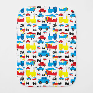 Cute Colorful Planes, Trains and Cars Collage Burp Cloth