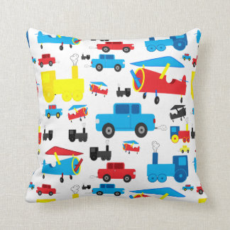 Cute Colorful Planes, Trains and Cars Collage Pillow