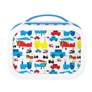 Cute Colorful Planes, Trains and Cars Collage Yubo Lunchbox