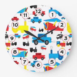 Cute Colorful Planes, Trains and Cars Collage Wall Clocks