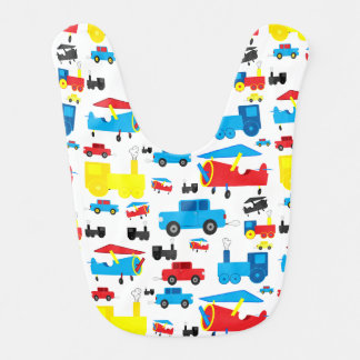 Cute Colorful Planes, Trains and Cars Collage Bib