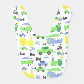 Cute Colorful Planes, Trains and Cars Collage Baby Bibs