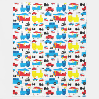 Cute Colorful Planes, Trains and Cars Pattern Fleece Blanket