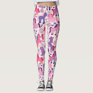 Cute Colorful Playing Unicorns Leggings