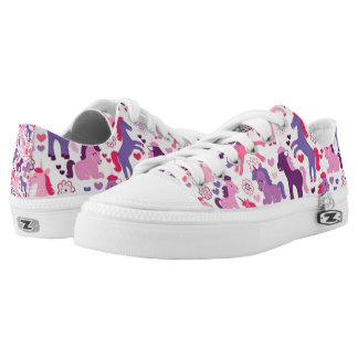 Cute Colorful Playing Unicorns Low Tops