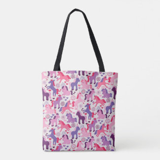 Cute Colorful Playing Unicorns Tote Bag