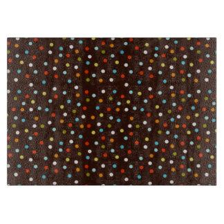 Cute Colorful Polka Dots Brown Cutting Board