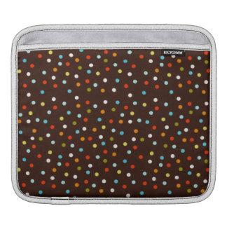 Cute Colorful Polka Dots Brown iPad Sleeve