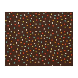 Cute Colorful Polka Dots Brown Wood Prints
