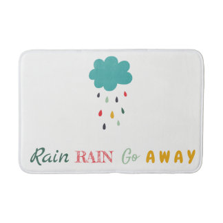 "Cute Colorful Rain Cloud ""Rain Rain"" Decorative Bath Mat"