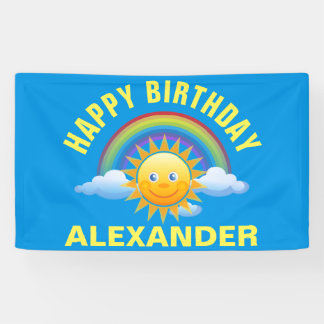 Cute Colorful Rainbow and Sun | Kids Name Birthday Banner