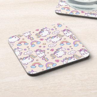 Cute & Colorful Rainbows and Unicorns   Coaster