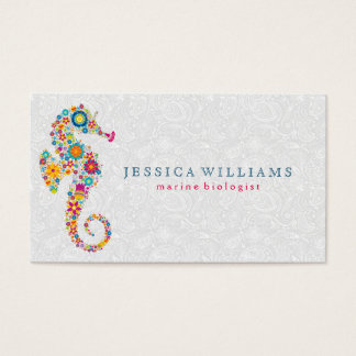 Cute Colorful Retro Floral Sea Horse Business Card