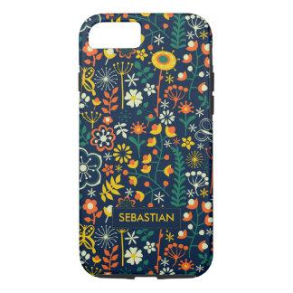 Cute Colorful Retro Flowers Monogram iPhone 7 Case