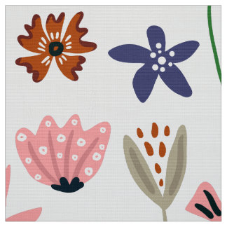 Cute Colorful Retro Flowers Pattern Fabric