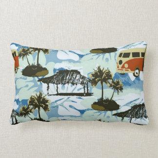Cute Colorful Retro Hawaii Beach Wave Surf Pattern Lumbar Cushion