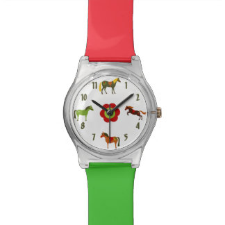 Cute Colorful Retro Ponies and Flower Horse Wristwatch