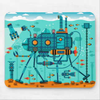 Cute Colorful Robot Underwater Scene Mouse Pad
