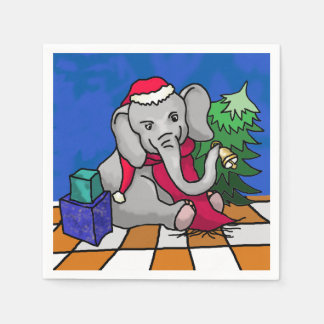 Cute Colorful Santa Elephant with Tree and Bell Disposable Napkins