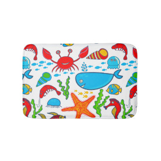 Cute Colorful Sea-life Illustration Pattern Bath Mat