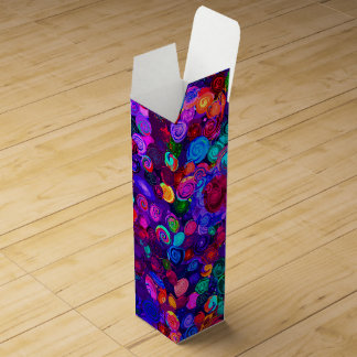 Cute colorful spiral cosmos patterns wine bottle box
