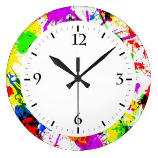 Cute colorful splatter paint design large clock