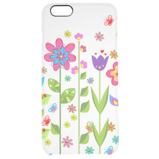 Cute Colorful Spring Flowers & Butterflies Clear iPhone 6 Plus Case